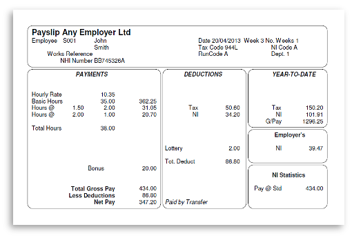 See a Sample Payslip – Sample of a Payslip